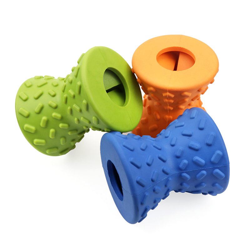 Dog Chewing Treat Toy Wholesale Dumbbell Treat Dispensing Dog Chew Toy