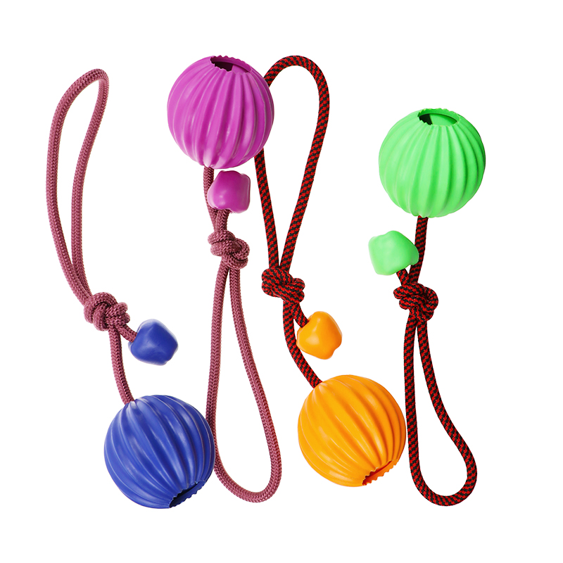 Towline Dog Toy Rope Ball Rubber Dog Chew Rope with Ball Interactive Dog Toys